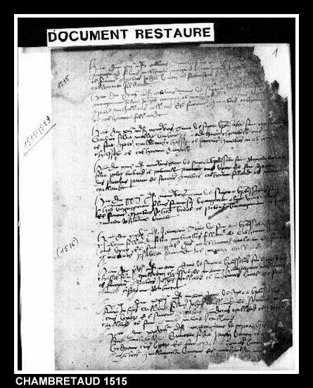 Chambretaud 1515 regist paroiss
