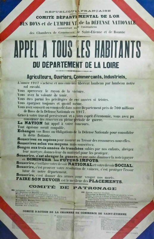 appel à souscription fin 1917