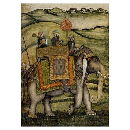 Le grand moghol monté sur un éléphant