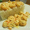 Gambas/Crevettes au Citron, au Piment,  l'Ail et  la Feta