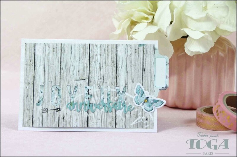 Carte Joyeux anniversaire collection Shabby Love DT Tacha 4p