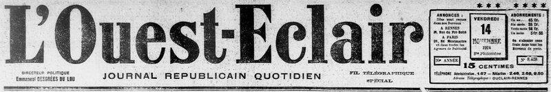 Ouest Eclair 1924 le 14 novembre_1