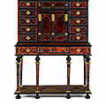 A flemish 17th century gilt-metal and brass-mounted, ivory-inlaid tortoiseshell, rosewood, ebony and ebonised cabinet on stand