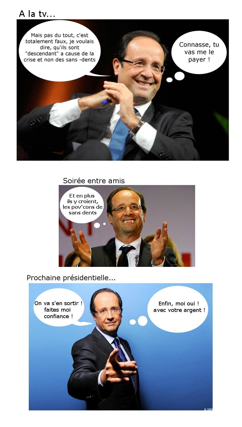 Affaire sans dent Francois hollande, image photo drole humour politique facebook - Humour Politique