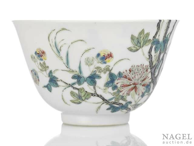 A very rare Imperial famille rose peony bowl, China, underglaze blue Qianlong seal mark and period