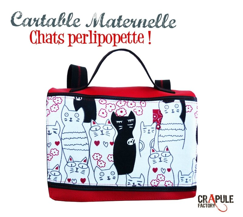 cartable maternelle chats perlipopette gar on fille simili cuir cuir rouge et chats. Black Bedroom Furniture Sets. Home Design Ideas