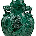 Large chinese carved malachite covered vase