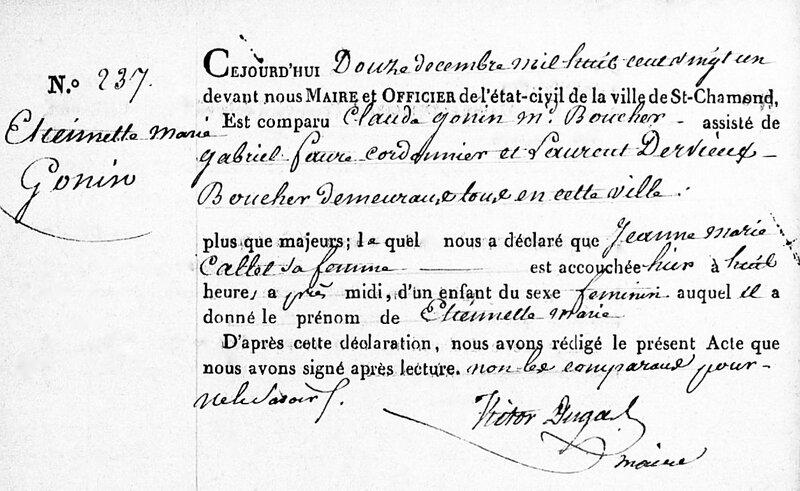 acte naissance Étiennette Gonin 1821