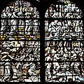 Gisors - Vitrail grisaille sur le thème de la vie de la Vierge et à l'enfance du Christ