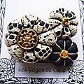 ♥ gasparine ♥ broche textile romantique fleurs potirons - les yoyos de calie