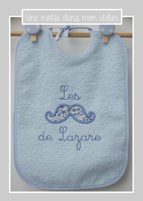 bavoir éponge-personnalisé-cadeau de naissance-Liberty adelajda bleu