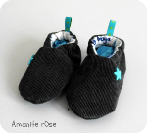 Chaussons Gris Etoile Turquoise