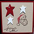 04. rouge, kraft et blanc - étoiles et Père Noël