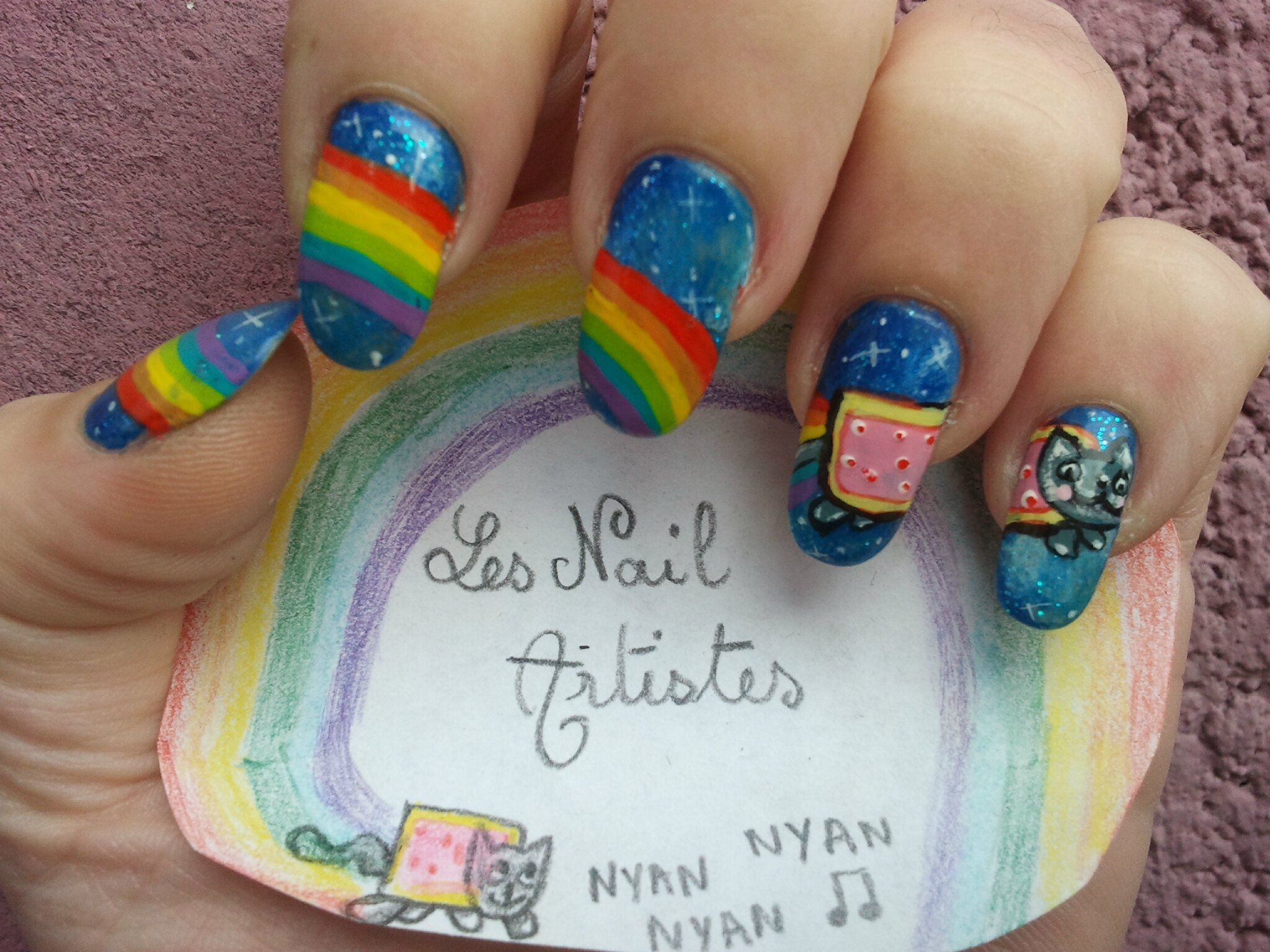 nail art nyancat pour le concours les nail artistes th me. Black Bedroom Furniture Sets. Home Design Ideas