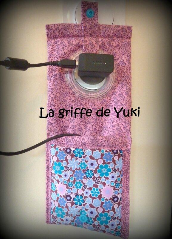 333 - Housse chargeur téléphone fleuri turquoise et rose (4)