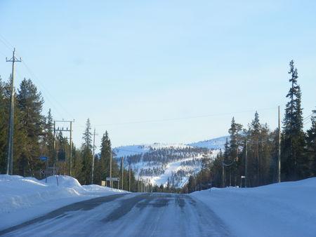 Sur la route pour rejoindre l'hotel, les pistes et les rennes !