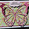 Une envie de pep's et de printemps ... un imprimé fleuri pailleté ... un papillon xxl ... une carte d'anniversaire !