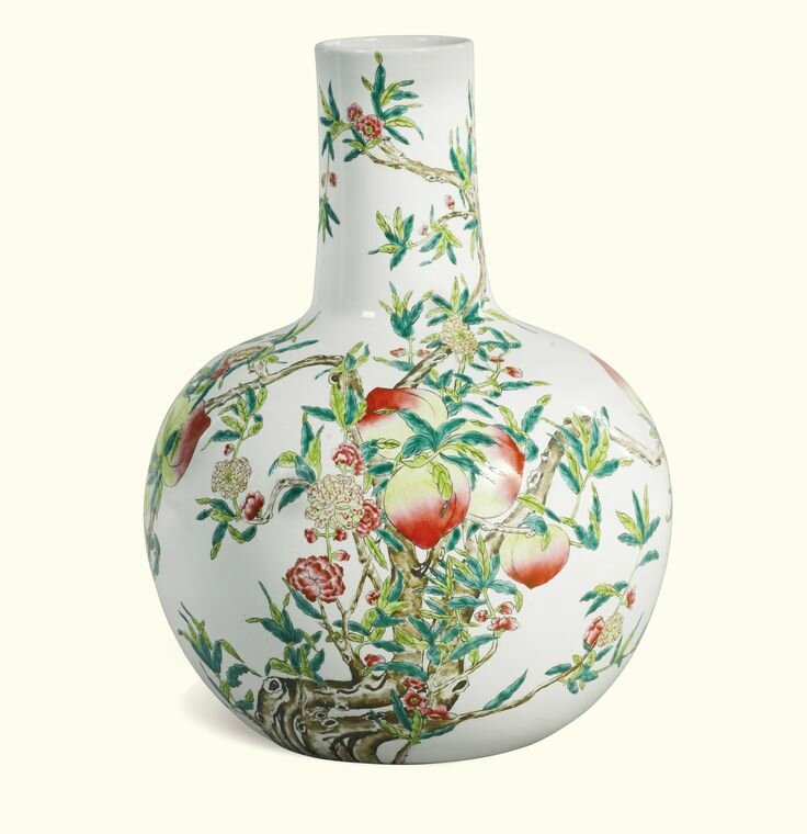 A large 'famille-rose' 'nine peach' bottle vase, Tianqiuping, circa 1900