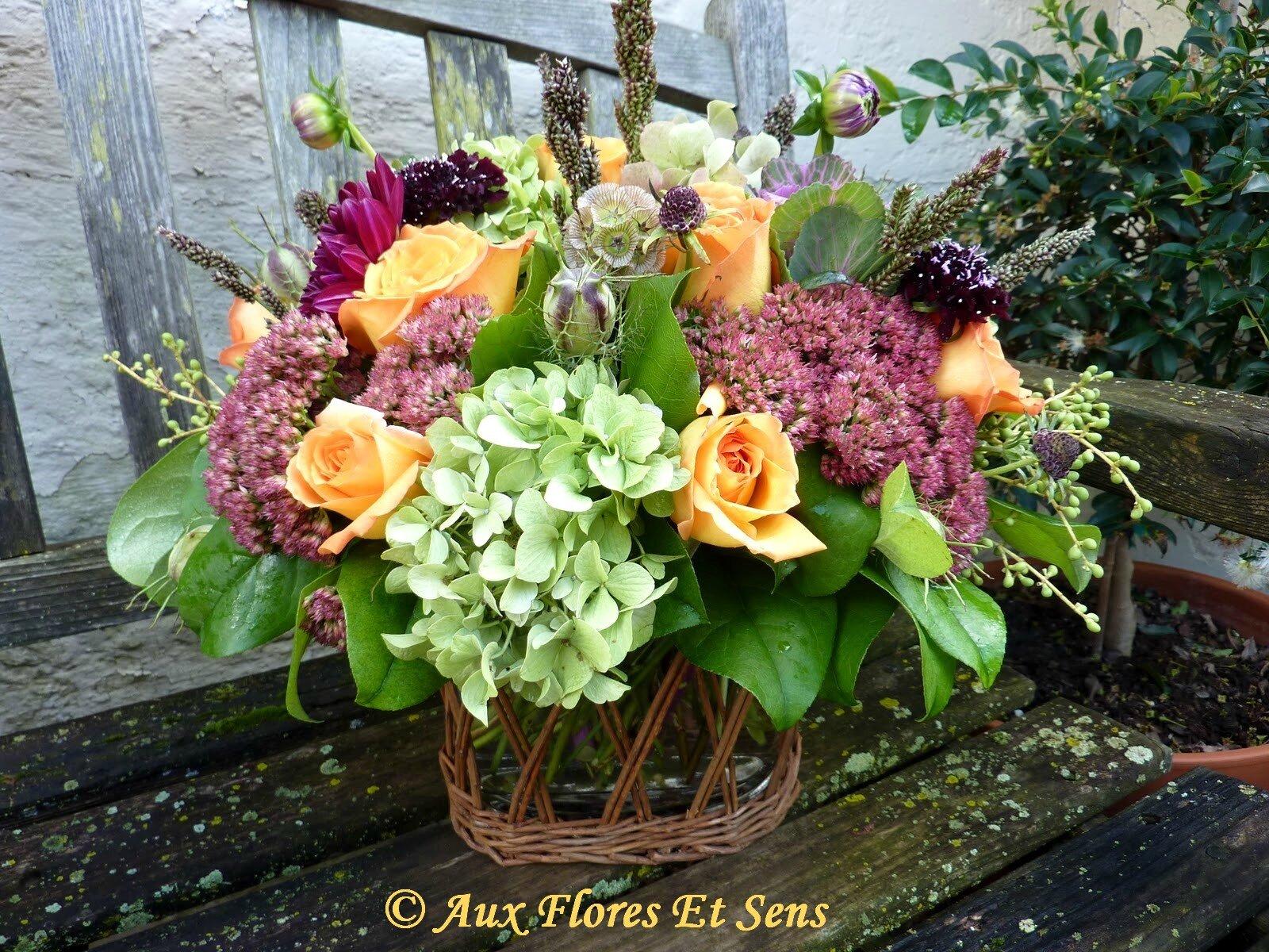 Bouquet rond Esprit Glané Rose, Hortensia,Sédum