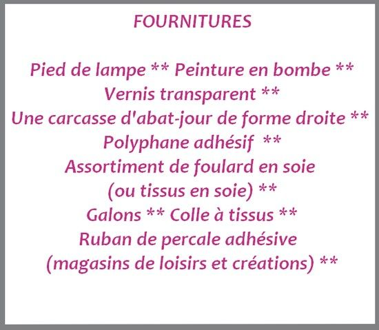 fiche fournitures lampe