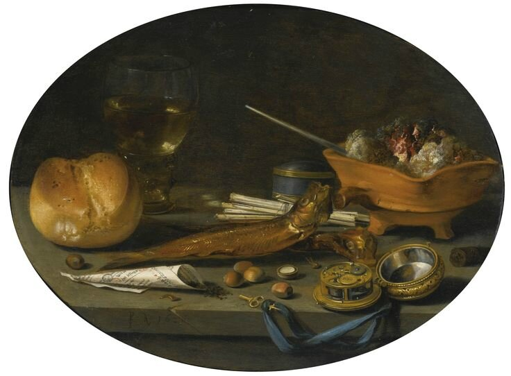Pieter Claesz., Still life with a roemer, a roll, smoked herring, a watch, smoker's requisites, hazelnuts and a brazier