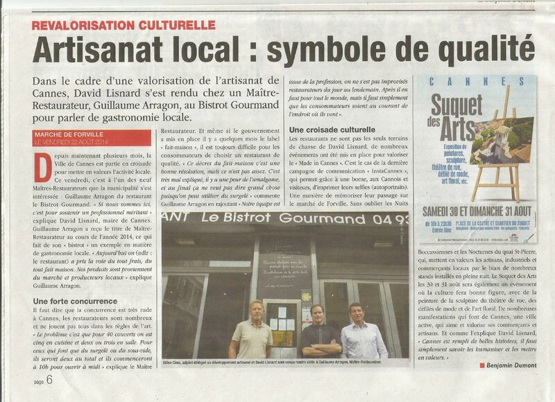Journal le cannois 29 08 au 04 09 2014 article