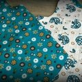 Tablier bleu 2-3 ans 4-5 ans détail tissus