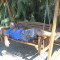 Oasis de Furnace Creek : Pierre pendant sa sieste sous la chaleu