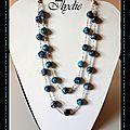 C53 (2012) collier double rans marbré turquoise