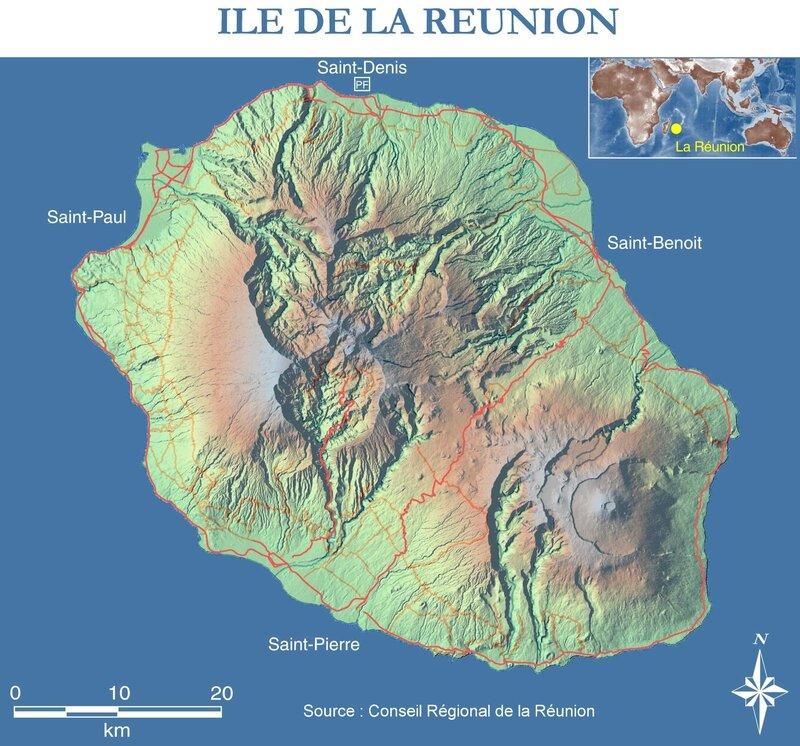 Carte de l'île de la Réunion (Source : Conseil Ral de la Réunion)