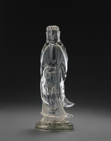 A carved rock crystal figure of Guanyin, Late Qing-Republic period