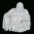 A Blanc de Chine porcelain sitting Budai, China, Dehua, Qing Dynasty, 18th century
