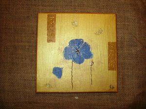 tableau 20x20 1 fleur bleue
