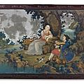 A Chinese Export Reverse-Painted Mirror Picture, Circa 1765
