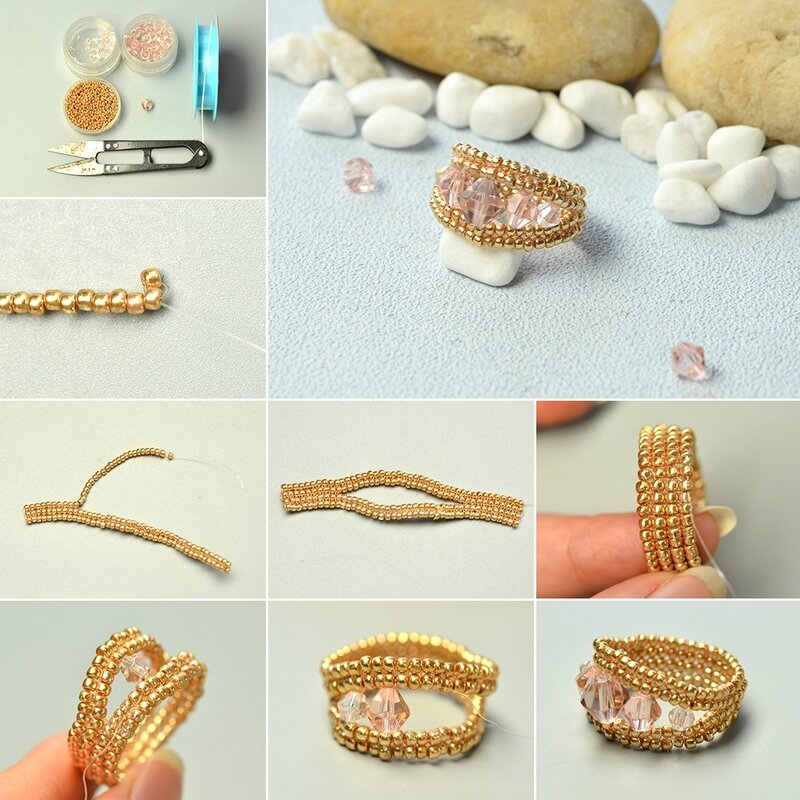 1080-Pandahall-Tutorial-–-How-to-Make-a-Simple-Seed-Beaded-Ring-with-Pink-Beads