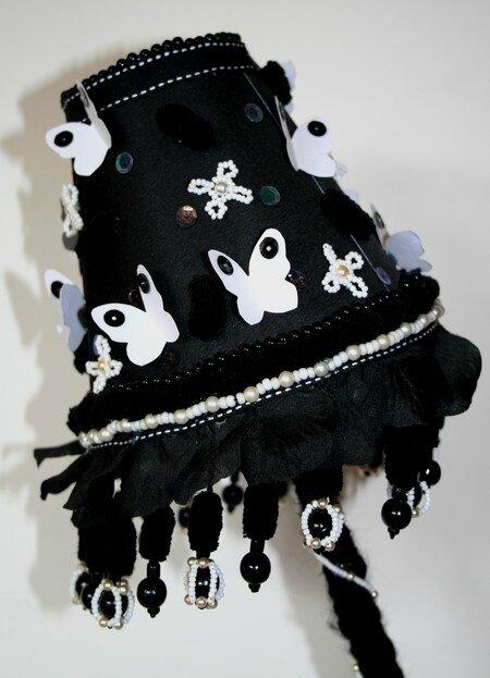 Lampe Noire Papillons blancs abat-jour