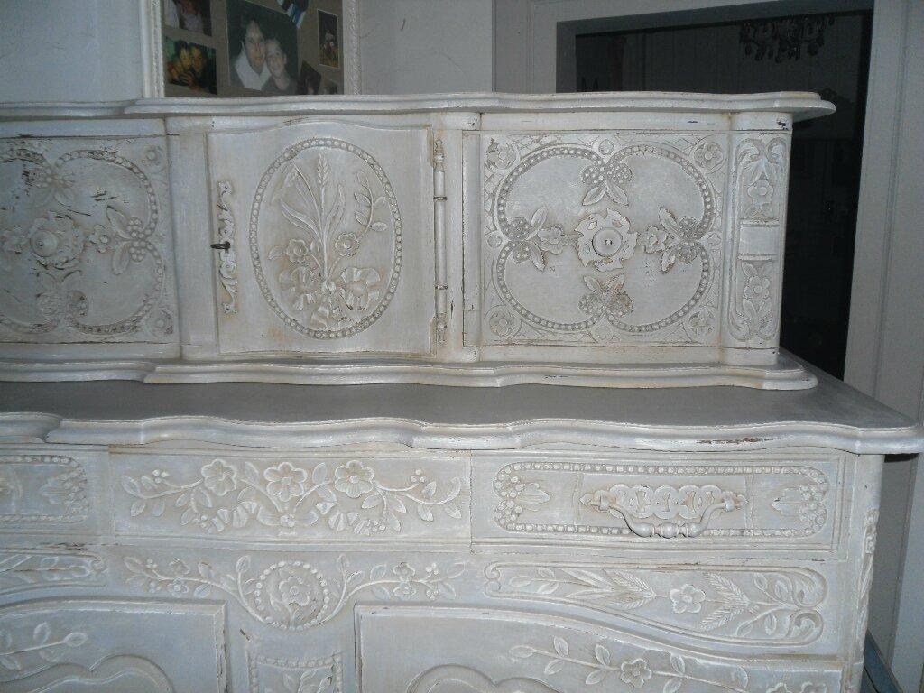 Buffet glissant proven al peint et patin ton gris et blanc ebay - Meuble peint provencal ...