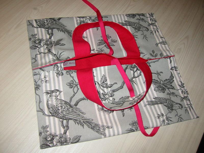 sac à tarte toile de Jouy-rose