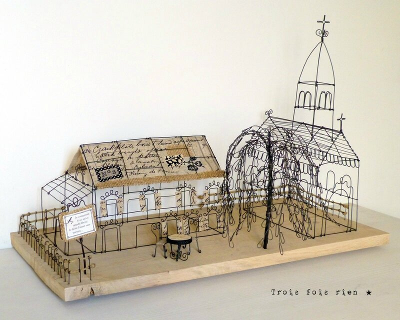 There is no place like home, wire art, fil de fer, wire, wire tree, wire house, wire church, trois fois rien 1
