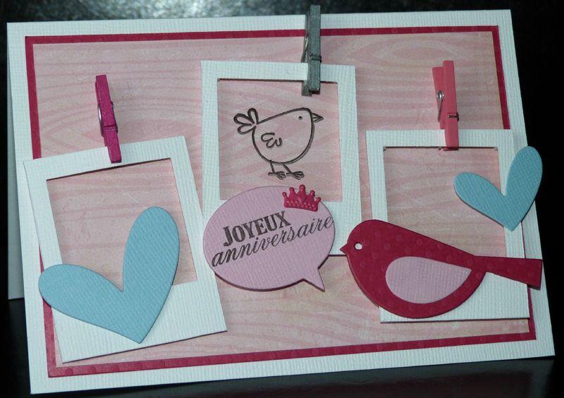 Hervorragend Carte d'anniversaire girly avec polaroïdes - L2MG - La Boutique VJ05
