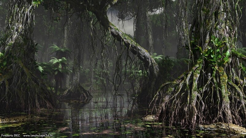 Dagobah mangrove tree rhyzophora 3D Star Wars C4D max obj 3ds fbx image 1