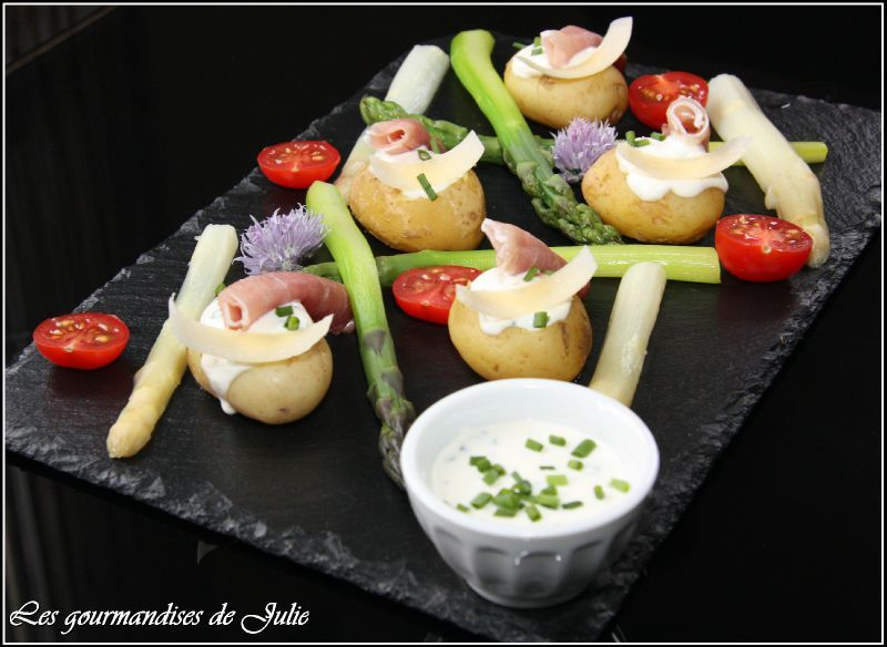 pommes de terre de l 39 ile de r asperges et cr me la ciboulette les gourmandises de julie. Black Bedroom Furniture Sets. Home Design Ideas
