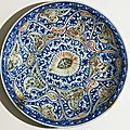 Dish with vegetal decoration, iran, safavid period (1501 - 1722)