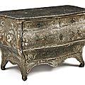 A german rococo polychrome-decorated and parcel-gilt commode, potsdam or dresden, mid-18th century