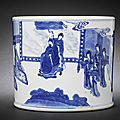 A fine blue and white cylindrical brush pot, bitong. chenghua six-character mark, early kangxi