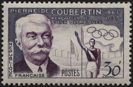 Timbre France 1956 Pierre de Coubertin