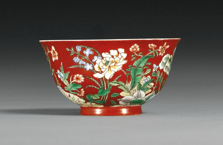 A fine and rare coral-ground famille-verte bowl, Kangxi Yuzhi mark and period