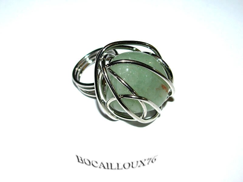 BAGUE CAGE JADE SERPENTINE 3 - T50