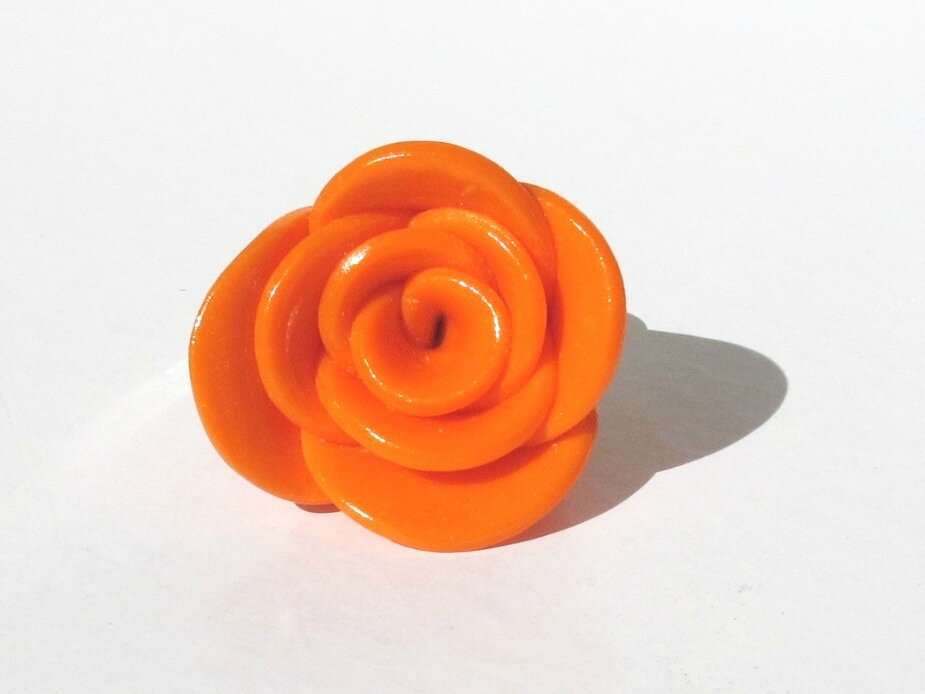 bague rose fimo orange face