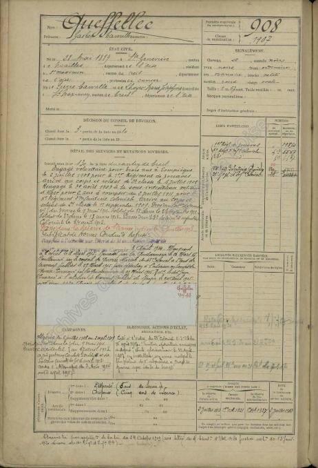 1909 Gaston Camille Fiche matricule_2